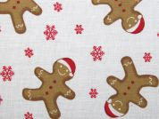 Christmas Gingerbread Man Print Polycotton Dress Fabric  Multicoloured