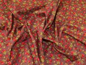 Strawberries Print Cotton Poplin Fabric  Brown