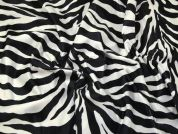 Animal Print Polyester Velboa Fabric  Black & White