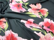 John Kaldor Large Floral Print Slinky Satin Dress Fabric  Black