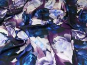 John Kaldor Floral Print Slinky Satin Dress Fabric  Purple & Teal