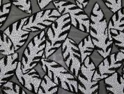Paros Sequinned Leaves Tulle Lace Dress Fabric  Black & White