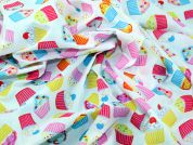 Cupcakes Print Polycotton Dress Fabric  Multicoloured