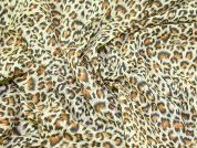 Leopard Animal Print Polycotton Dress Fabric  Brown
