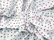 Tiny Strawberries Print Polycotton Dress Fabric  White & Red