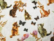 Cat Print Cotton & Linen Canvas Fabric  Multicoloured
