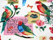 Birds Print Cotton & Linen Canvas Fabric  Multicoloured