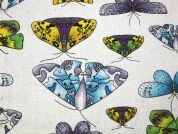 Butterfly Print Cotton & Linen Canvas Fabric  Multicoloured