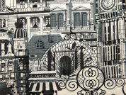 London Landscape Print Cotton & Linen Canvas Fabric  Grey