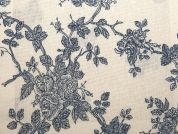 Floral Print Cotton & Linen Canvas Fabric  Blue & Ivory