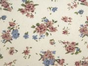 Floral Print Cotton & Linen Canvas Fabric  Ivory