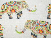 Elephant Print Cotton & Linen Canvas Fabric  Multicoloured