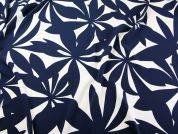 John Kaldor Large Floral Print Crepe Dress Fabric  Navy Blue