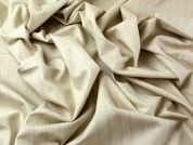 Pinstripe Poly, Viscose & Lycra Stretch Suiting Dress Fabric  Beige