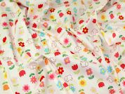 Elephants & Flowers Print Cotton Dress Fabric  Pink