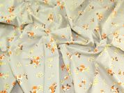 Floral Print Cotton Lawn Dress Fabric  Stone & Orange