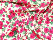 Floral Print Liberty Cotton Poplin Dress Fabric  Bright Pink