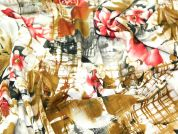 Graphic Floral Crinkle Polyester Print Dress Fabric  Multicoloured