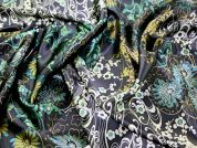 100% Silk Satin Print Dress Fabric  Navy Blue