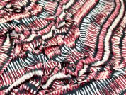 Abstract Stripe Print Viscose Dress Fabric  Red & Black