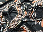 Swirl Print Stretch Velour Dress Fabric  Black