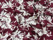 Floral Print Viscose Challis Dress Fabric  Wine
