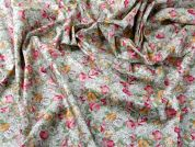 Floral Print Combed Cotton Poplin Dress Fabric  Multicoloured