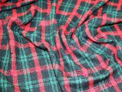 Check Wool Blend Textured Coating Fabric  Black, Red & Green