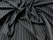Polyester, Viscose & Lycra Pinstripe Stretch Suiting Dress Fabric  Black