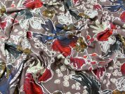 Large Floral Print Soft Viscose Twill Dress Fabric  Multicoloured