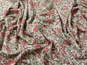Floral Print Soft Viscose Twill Dress Fabric  Rust
