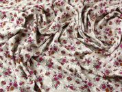 Floral Print Soft Viscose Twill Dress Fabric  Pink & Beige