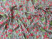 Floral Stripe Print Cotton Lawn Dress Fabric  Multicoloured