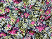 Bright Floral Print Polyester Crepe Dress Fabric  Multicoloured
