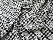 Geometric Print Viscose & Linen Blend Dress Fabric  Black & White