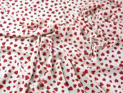 Heart Print Polyester Georgette Dress Fabric  Red & Cream