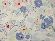 Flower Print Linen & Cotton Dress Fabric  Multicoloured