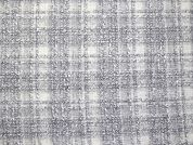English Wool Blend Plaid Coating Dress Fabric  Grey