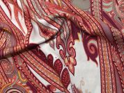 Paisley Print Viscose Challis Dress Fabric  Pink