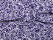 Paisley Print Stretch Jersey Knit Dress Fabric  Purple