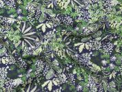 Floral Print Viscose Crepe Dress Fabric  Blue & Green