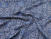 Patterned Viscose Challis Dress Fabric  Blue