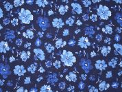 Flower Print Linen & Cotton Dress Fabric  Blue