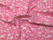 Floral Print Cotton Jersey Knit Dress Fabric  Pink