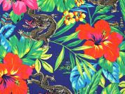 Dragon & Flower Print Linen & Cotton Dress Fabric  Multicoloured