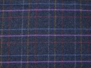 English Wool Blend Plaid Coating Dress Fabric  Navy Multi