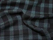 Poly Viscose Check Coating Dress Fabric  Black & Green