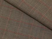 Poly Viscose Check Stretch Suiting Dress Fabric  Brown