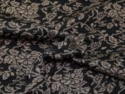 Floral Jacquard Jersey Knit Dress Fabric  Black & Taupe