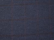 English Pure Wool Plaid Coating Dress Fabric  Blue